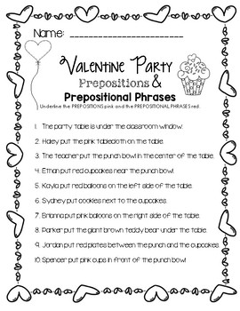 valentine party prepositions prepositional phrases worksheet tpt. Black Bedroom Furniture Sets. Home Design Ideas