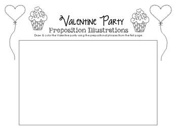 Valentine Party Prepositions & Prepositional Phrases Worksheet