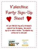 Valentine Party Sign-Up Sheet for Snacks