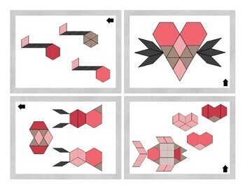 Valentine Pattern Blocks Activity Task Cards and Data Sheets