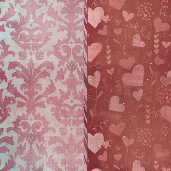 Valentine Patterned Digital Papers - Textured - Pink and Red Damask - Hearts