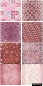 Valentine Patterned Digital Paper,Textured Background, Pink, Red Damask, Heart