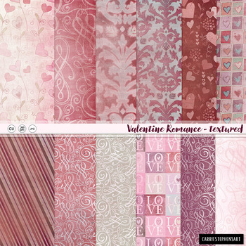 Valentine Patterned Digital Paper,Textured Background, Pink, Red Damask, Heart