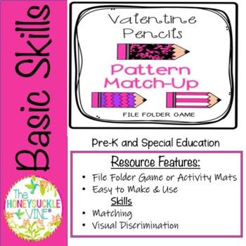 Valentine Pencils Pattern Match-Up
