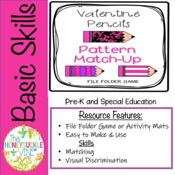 Valentine Pencils Pattern Match-Up