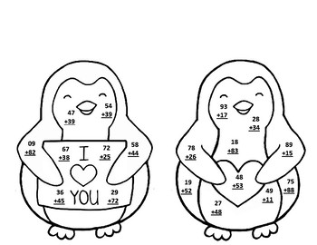 Valentine Penguin 2 Digit Addition With and Without Regrouping Math CRAFT