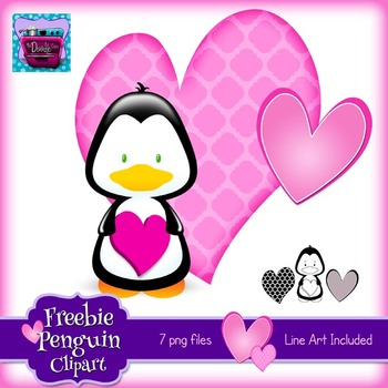 Valentine Penguin & Hearts Clipart {Freebie}