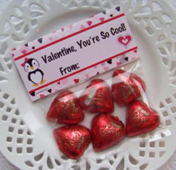Valentine Penguin Large Treat Bag Toppers