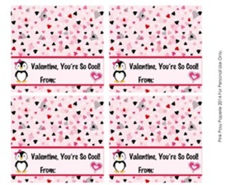 Valentine Penguin Large Treat Bag Toppers