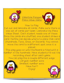 Valentine Penguin ~~~ Place Value Game