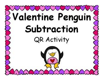 Valentine Penguin Subtraction QR Activity