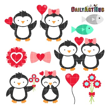 Valentine Penguins Clip Art - Great for Art Class Projects!