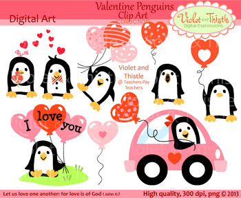 Valentine Penguins Clipart Valentine Penguin Clip Art Heart Balloon Car Red Pink