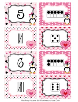 Valentine Penguins Number Match Activity