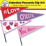 Valentine Pennants Clip Art
