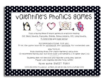 Valentine Phonics Board Games -- Simple and Direct