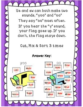Valentine Phonics ue, & ew word sorts