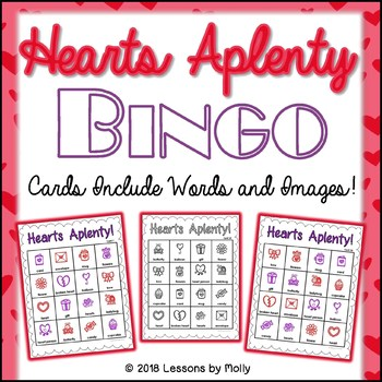 Valentine Pictures with Words Bingo Game