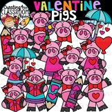 Valentine Pigs Clipart {Valentines Day Clipart}