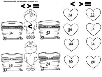 Valentine Pirate Comparing Treasure Numbers
