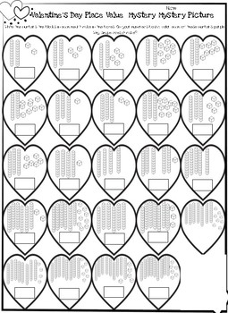 Valentine Place Value Mystery Picture NO PREP
