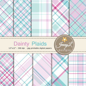 Valentine Plaid Digital Papers