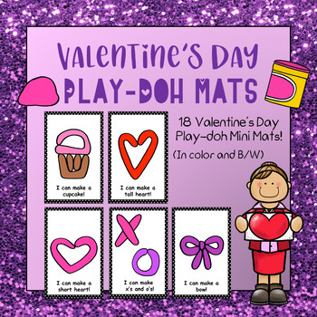 Valentine Playdough Mats - (18 Valentine Playdough Mats in Color and B&W)