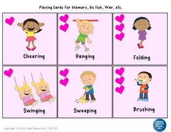 Valentine Playing Cards for Verbs and Simple Sentences