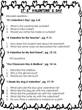 Valentine Poems  It's Valentine's Day  Literacy Activities Worksheets Printables
