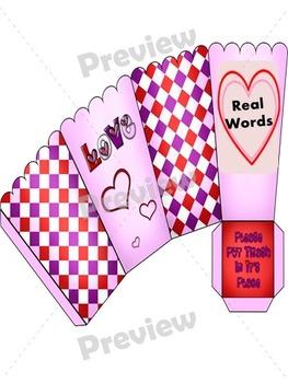 Valentine  Popcorn Real & Nonsense Word Sort