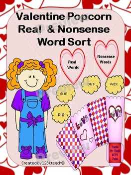 Valentine  Popcorn Real & Nonsense Word Sort