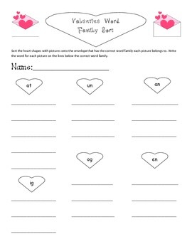 Valentine/ Post Office Themed Center: Word Family Sort