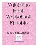 Valentine Pre-K Math Worksheet Freebie!