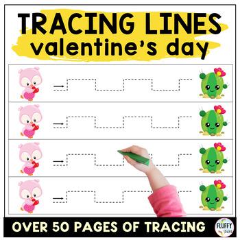 Valentine Pre-writing Tracing for Preschool : Valentine's Tweeter Bird