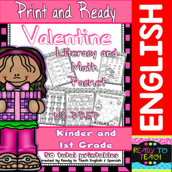 Valentine - Print and Ready - Literacy and Maths Packet/ Kinder-1st Grade