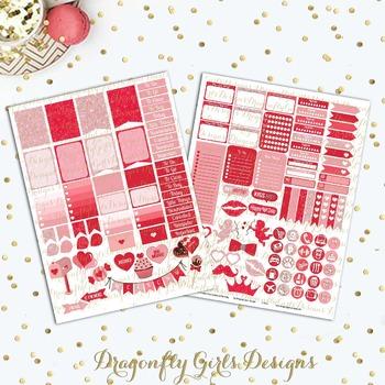 Valentine Printable Planner Stickers Mini Kit