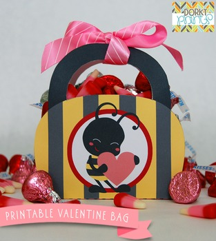 Valentine Printables - Bee Mine Valentine Bag
