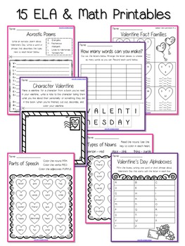 Valentine's Day Printables: ELA and Math