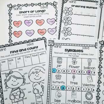 February Printables- Math and Literacy On The Go!