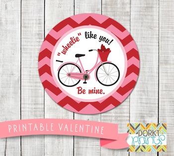 Valentine Printables - Valentine Circle Tag Bicycle