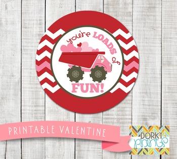 Valentine Printables - Valentine Circle Tag Dump Truck