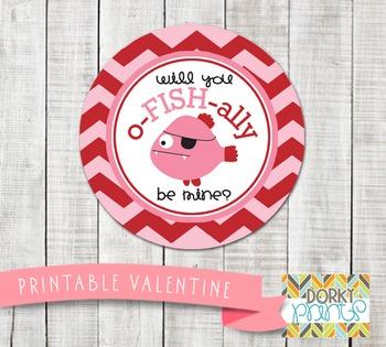 Valentine Printables - Valentine Circle Tag Fish
