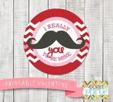 Valentine Printables - Valentine Circle Tag Mustache