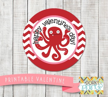 Valentine Printables - Valentine Circle Tag Octopus
