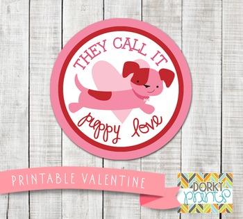 Valentine Printables - Valentine Circle Tag Puppy Love