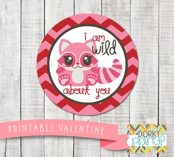 Valentine Printables - Valentine Circle Tag Raccoon