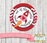 Valentine Printables - Valentine Circle Tag Rocket