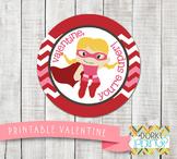 Valentine Printables - Valentine Circle Tag Super Girl