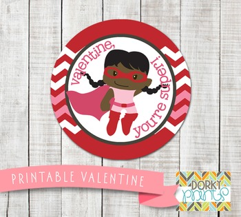Valentine Printables - Valentine Circle Tag Super Girl