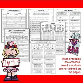 Valentine Printables for Language Arts